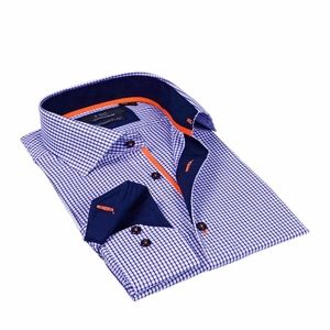 Mens LVs by Levinas Navy Check Button-down Shirt